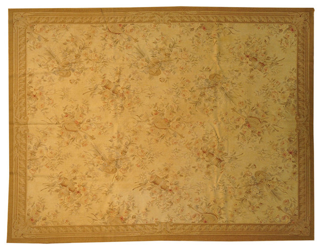Aubusson Tapestry, 8' X 10' Hand Woven Musical Instrument Wall Hanging Sh8474 modern-artwork