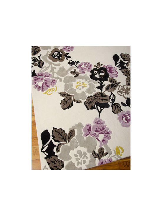 "Horchow - ""Lilac Fiesta"" Rug - Make an uplifting statement with this rich and beautiful floral rug. Hand made of wool/viscose with hand-carved details for a superb, high-low texture. Cotton backing applied with latex. Sizes are approximate. Imported. See our Rug Guide for t..."