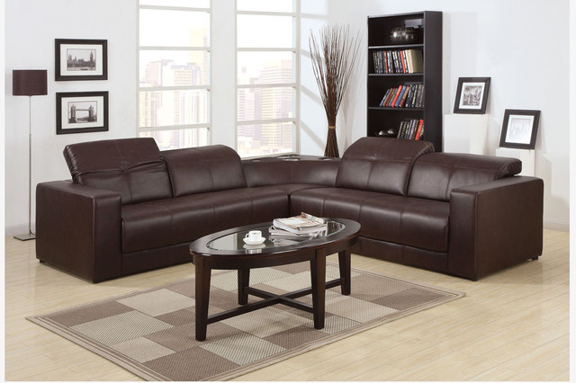 Acme Modern Brown Leather Sectional Sofa Couch Bulit-In ...