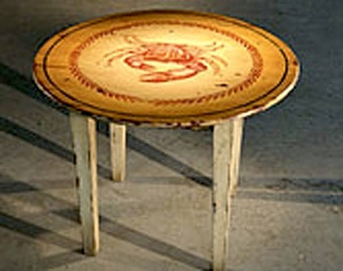 Round Cocktail Table With Hand Painted Design Farmhouse Side Tables And End Tables Boston