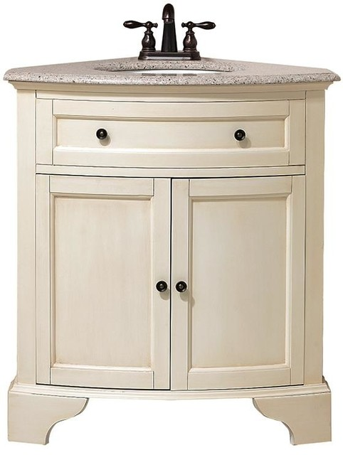 Hamilton Corner Vanity 35 Hx30 W Distressed White Traditional Bathroom Vanities And Sink