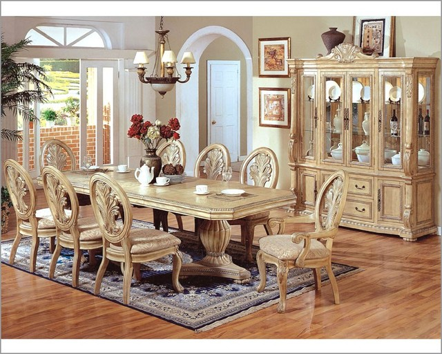 Mcferran home furnishings 9pc formal pedestal dining for Formal dining room sets for 10