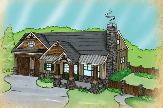 Fireside Cottage House Plan traditional-rendering