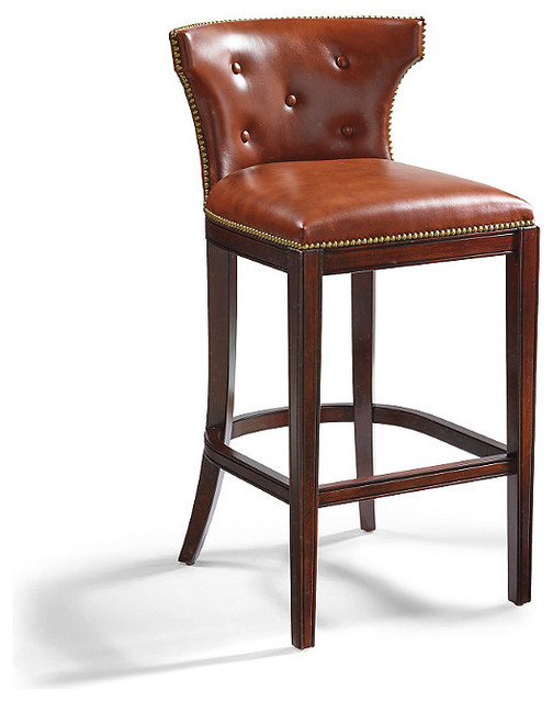 Marseille Bar Height Bar Stool 30 Quot H Seat Brown Leather