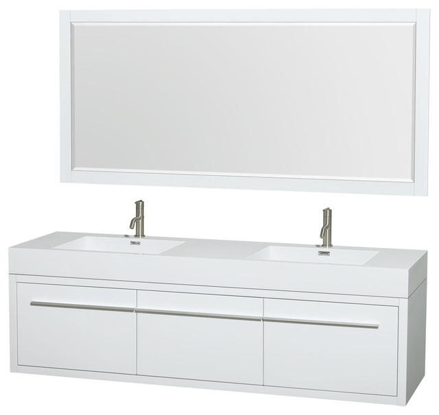 Axa wall mounted double bathroom vanity glossy white 72 inch 58 inch mirror contemporary for 58 inch double bathroom vanity