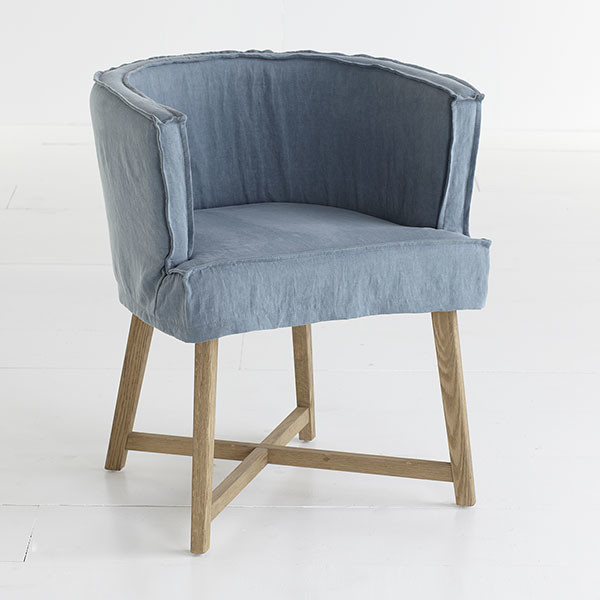 slipcovered club chair dusty blue traditional