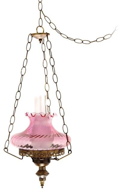 "Pink Swirl Tamoshanta 13"" Wide Plug in Style Swag Chandelier Farmhouse"