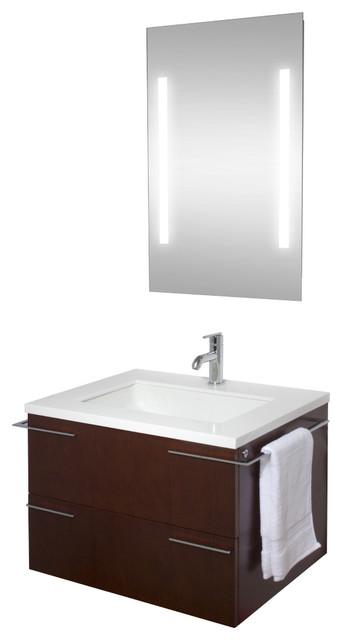 Bathroom Vanity Lights Red : VIGO 31-inch Single Bathroom Vanity, Red Oak, With Mirror and Lighting System - Modern ...