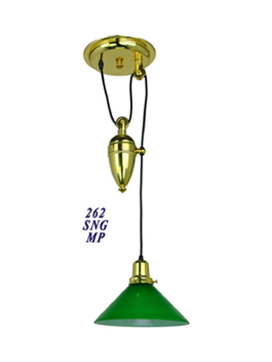Victorian Chandeliers - Late Victorian or Edwardian light adjustable with a pulley, to deliver light right where it's needed.