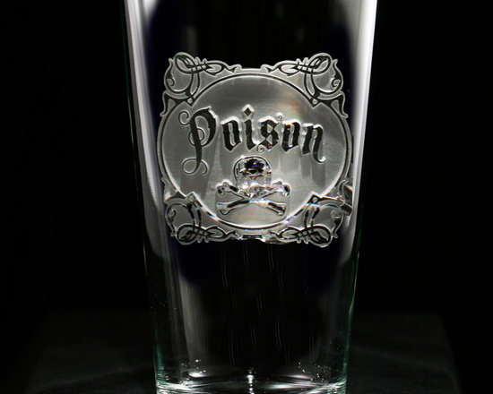 Crystal Imagery, Inc. - Poison, Skull and Cross Bones Engraved Glass Set, Pub Pint - Engraved Poison pub or pint beer glasses are a fun rock star style, edgy gift for the rock and roll lover. Deeply carved using our sand carving technique, each of our custom pint or pub glasses are meticulously custom made to order making them the perfect gift for those seeking unique gift ideas for beer lovers - men and women alike. At 16 oz, our pub glass will hold plenty of your favorite beverage. A custom engraved pint or pub glass will be the favorite gift at any special gift giving occasion. Personalized or monogrammed pint or pub glasses are a unique and special bridal shower gift, engagement gift, wedding gift or engagement gift. Also great gift idea for girlfriend or wife gifts, boyfriend or husband gifts, retirement gift or birthday for the classy man or woman who has everything. Dishwasher safe. Made in the USA. SOLD AS A SET OF 4.