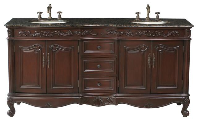 "72"" Saturn Double Sink Vanity with Baltic Brown Granite Top traditional-bathroom-vanities-and-sink-consoles"