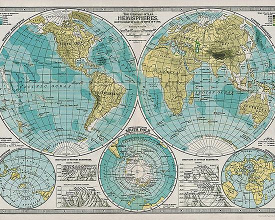 Cavallini Hemisphere Map Wrapping Paper -