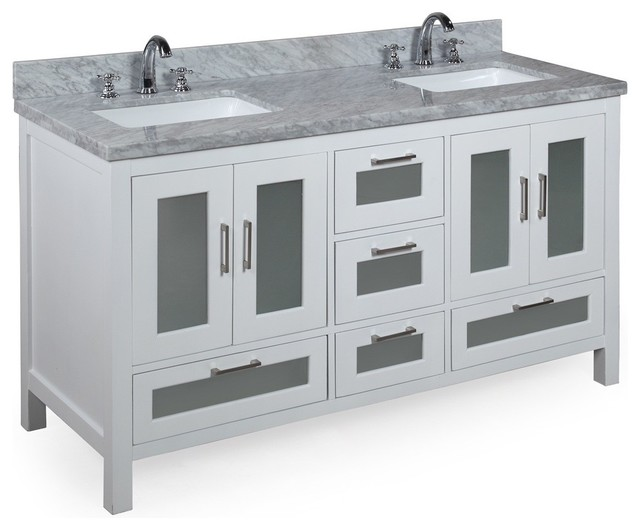 Manhattan 60-in Double Sink Bath Vanity (Carrara/White) contemporary-bathroom-vanities-and-sink-consoles