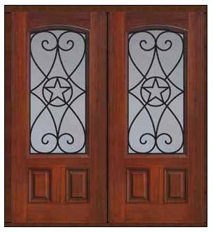 Prehung Double Door 80 Fiberglass Austin Texas Star Arch Lite Mediterranean