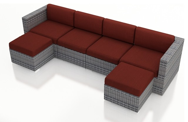 Urbana 6 Piece Wicker Sectional Set, Weathered Stone Wicker, Henna Cushions modern-patio-furniture-and-outdoor-furniture