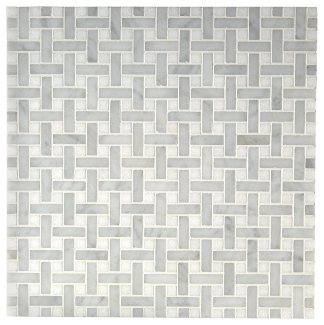 3/8 x 1 1/4 Basketweave Mosaic traditional bathroom tile