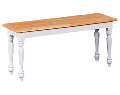 Coaster Damen Traditional Wood Dining Bench in Warm Natural and White Finish traditional-dining-benches