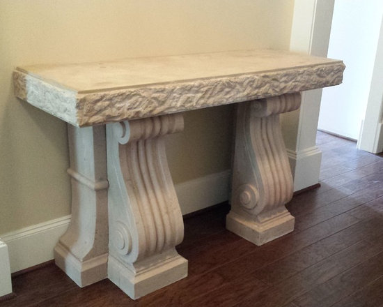 Installations - Gorgeous custom design hand carved Limestone console table- Katy