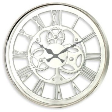 Zodax regatta 23 1 2 polished nickel wall clock contemporary wall clocks by bed bath beyond - Large brushed nickel wall clock ...