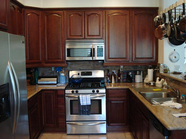 cherry walnut kitchen cabinets home design traditional kitchen