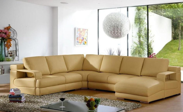 Luxurious Full Italian Leather L-shape Furniture contemporary sectional sofas