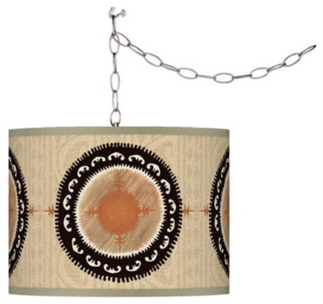 Travelers Compass Giclee Plug-In Swag Chandelier rustic-chandeliers