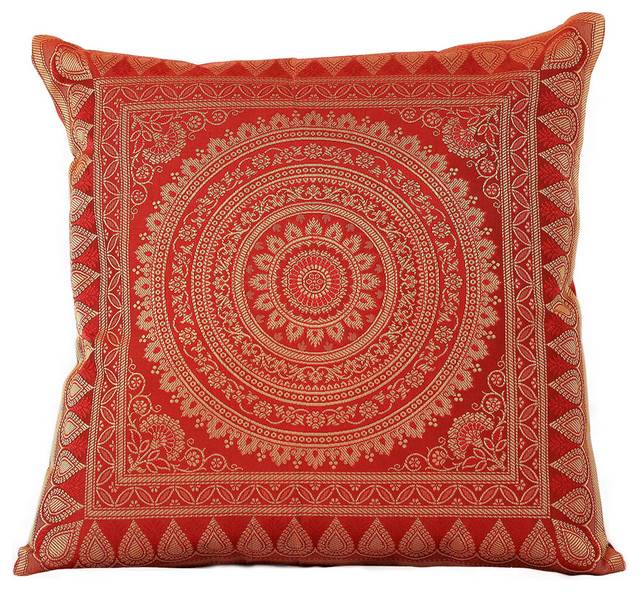 Exotic Oriental Pillow Covers, Red, Set of 2 - Asian - Decorative Pillows - by Banarsi Designs