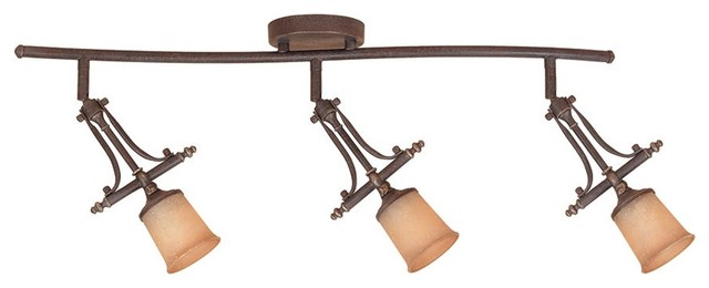 Transitional Satin Crepe Glass Swiveling 3-Halogen S-Track Bronze Fixture traditional-ceiling-lighting