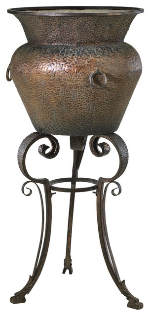 """Traditional Rust and Verde Finish 49 1/2"""" High Bacchus Hammered Planter traditional-indoor-pots-and-planters"""