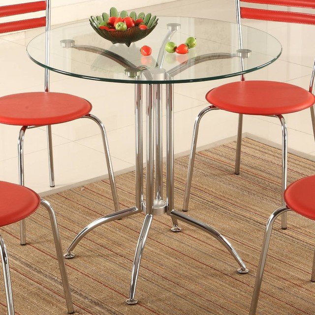 Round Glass Bistro Table Contemporary Dining Tables By Modern