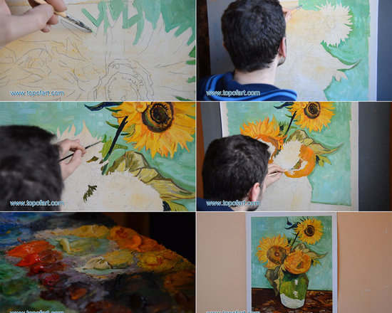 Three Sunflowers in a Vase | van Gogh | Painting Reproduction -