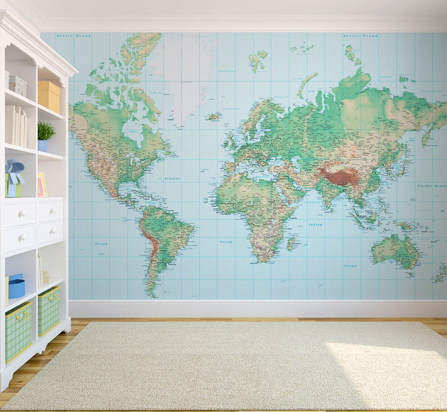 World Map Wallpaper Eclectic Wallpaper London By