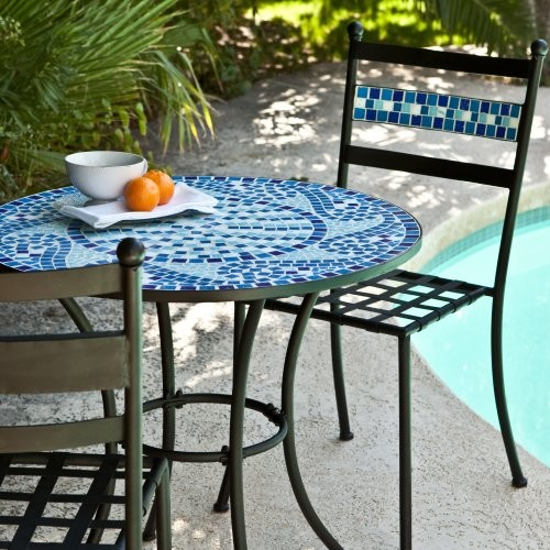 Marina mosaic bistro set traditional patio furniture for Patio furniture table set