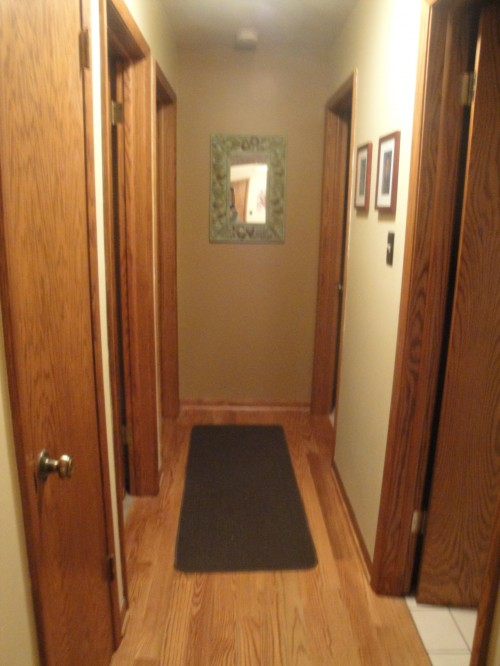 Any ideas to jazz up this dark narrow hallway with lots of ...