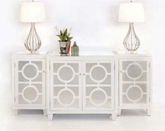 Worlds Away 3 Piece Mirrored Buffet - White Lacquer traditional-buffets-and-sideboards