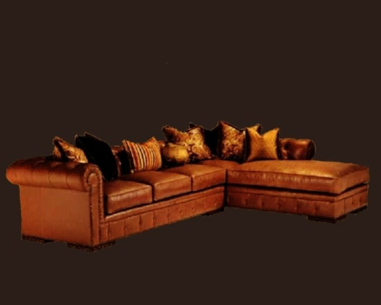 Cool Stuff - Santiago sectional with chaise  - built to the floor with button front band detail - button tufted back and arms with (7)  throw pillows and basketball - bronze star nail head trim - (40) leathers and (400) fabrics available.