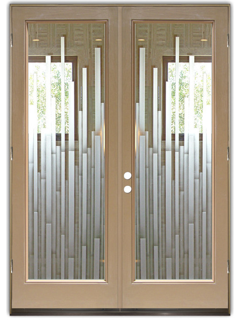 Glass front entry doors frosted glass obscure mosaics Modern glass exterior doors