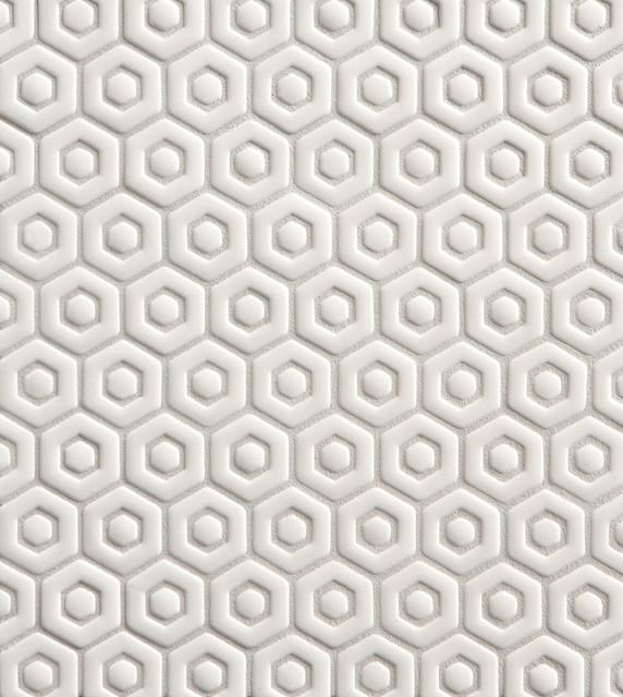 Tilt David Hexagon Mosaic In White Gloss Modern Wall