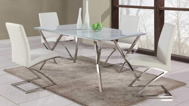 High End Rectangular Glass Top Leather Dining Table And Chair Sets Modern