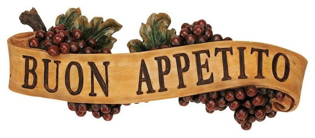 Italian buon appetito kitchen grapes sculptural wall for Traditional kitchen wall decor