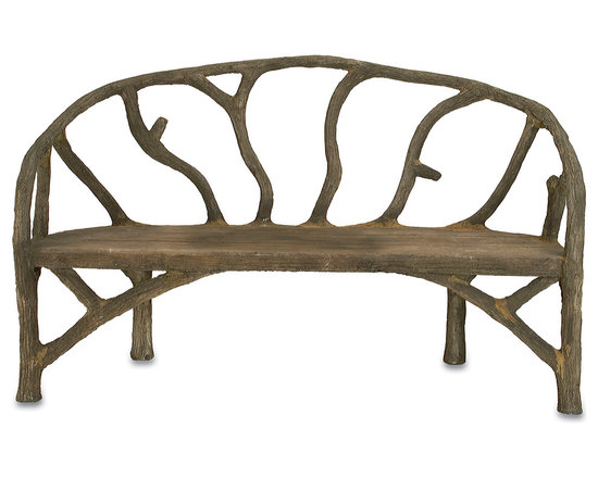 Currey & Co - Currey & Co 2700 Arbor Faux Bois Bench - The rustic Currey & Co 2700 Arbor Faux Bois Bench is ideal for a front yard, back yard or porch. It is made from concrete and steel and has a resilient build with a faux bois finish. The bench can sit two or three people with ease and its decorative style is sure to look good in a yard or garden with a transitional, Olde World, rustic or antique ambiance.