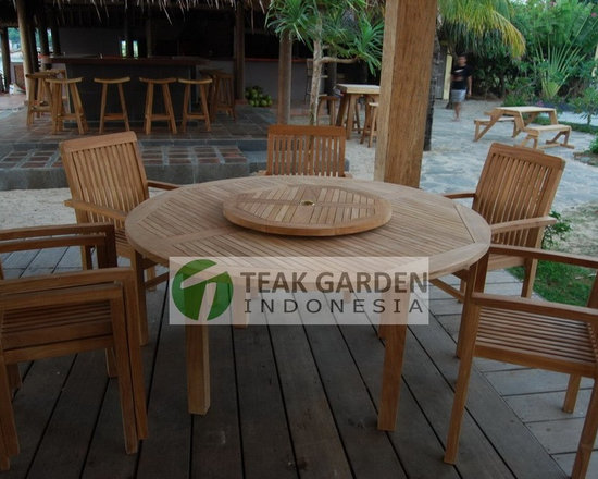Teak Garden Furniture, Teak Dining Table - Set of teak folding chair and rectangular table for your outdoor and patio.