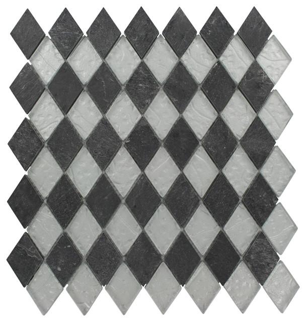 Geological Diamond Black Slate & Silver Glass Tiles contemporary-tile