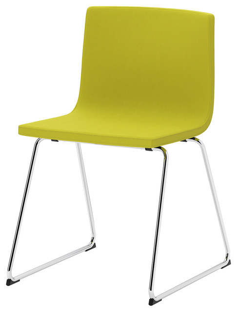 Bernhard Chair Chrome Plated Kavat Green Yellow Scandinavian Dining Cha