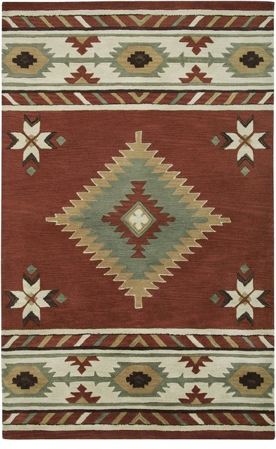 Southwestern Lodge Southwest 5 X8 Rectangle Navajo Red