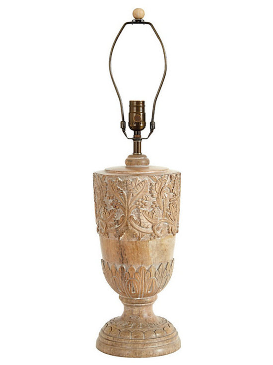 """Ballard Designs - Sophia Table Lamp Base - Pair with any of our 18"""" Empire Couture Shades. Crafted of wood & iron. 3-way switch. Clear cord. The intricate design of flowing vines and acanthus leaves of our Sophia Table Lamp Base are hand carved from natural solid wood and hand finished to bring out every beautiful detail. Because it's handmade, each base is unique.Sophia Table Lamp Base features: . . . ."""