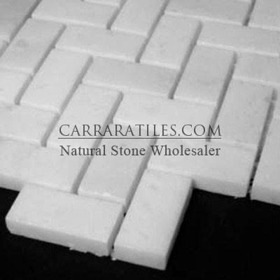 Statuary Marble Italian White Statuario Herringbone Mosaic Tile Polished tile