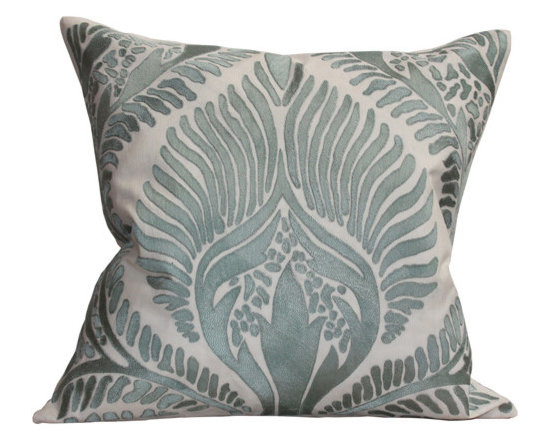 Kathy Kuo Home - Revere Coastal Beach Seafoam GreenIvory Square Pillow - Hand embroidered pillows in linen and silk are sumptuously oversized and generously filled with down and feathers - tossed on a bed or a gathered on a sofa, create a lasting personal touch.