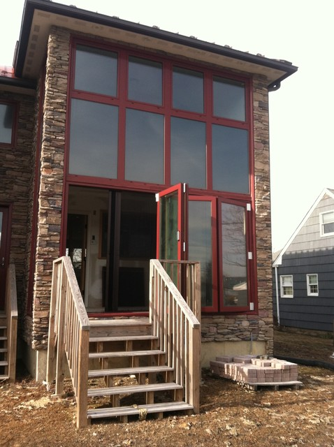 Custom Red Folding Glass Walls contemporary-windows-and-doors