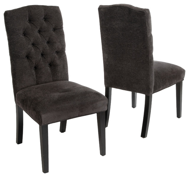 Clark Tufted Back Dark Gray Fabric Dining Chairs Set Of 2